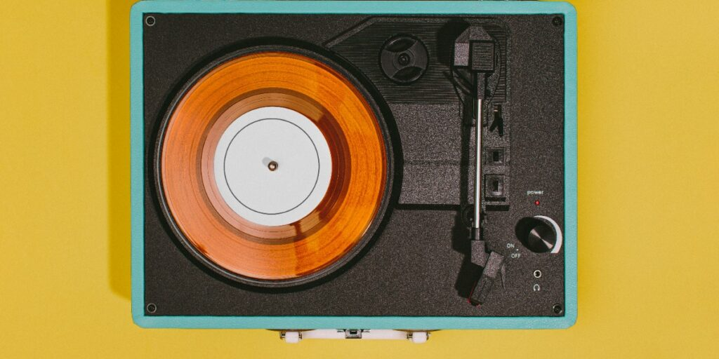 An image of a record player to depict lab gadgets and solutions.