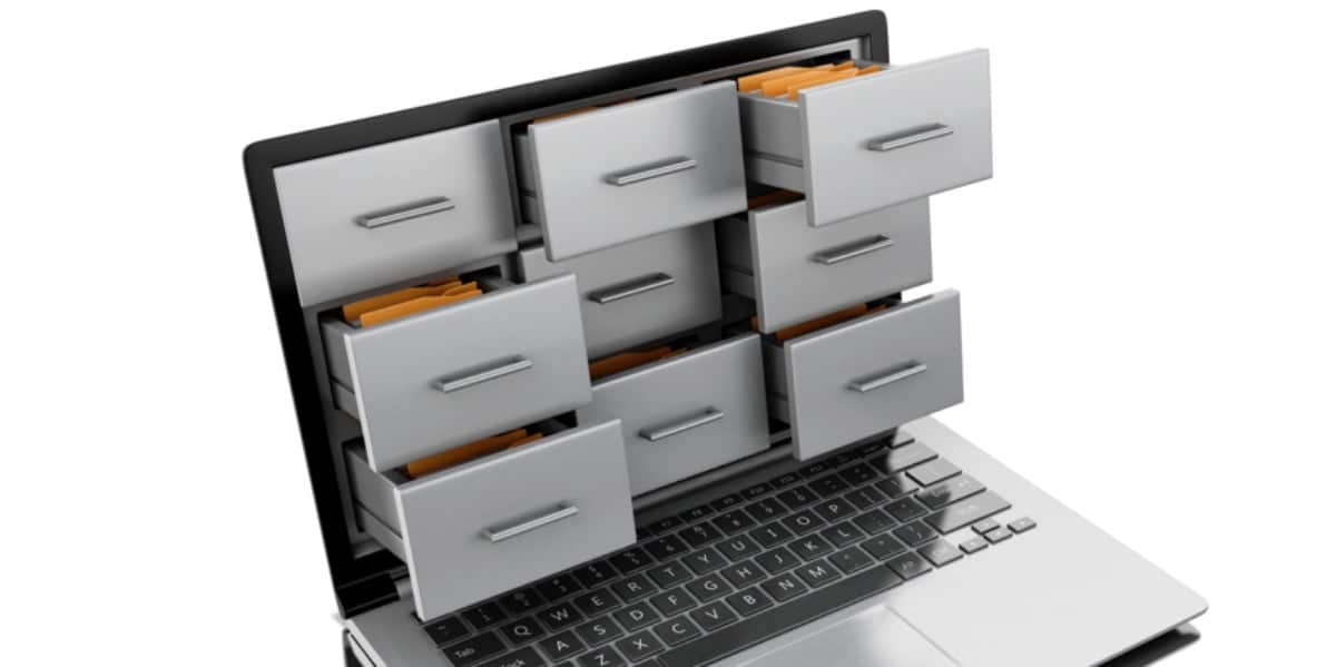Stylized image of a laptop with drawers extending from the screen to represent the reference manager Mendeley