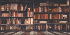 A bookshelf of old books to represent the history of histology
