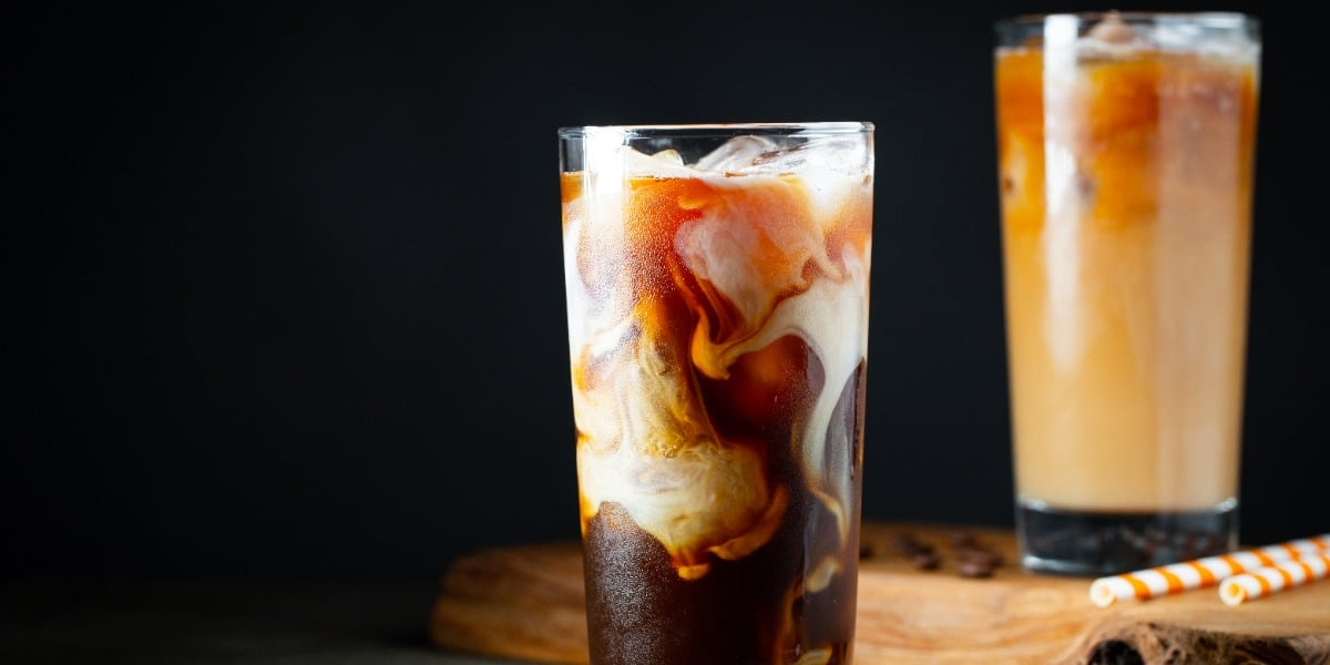 Image of a iced coffee (Frappe) as a play on words for the microscopy technique FRAP
