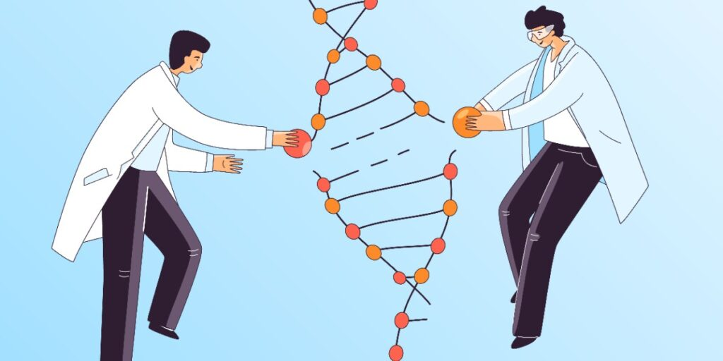 Image of scientists editing DNA as in CRISPR technology