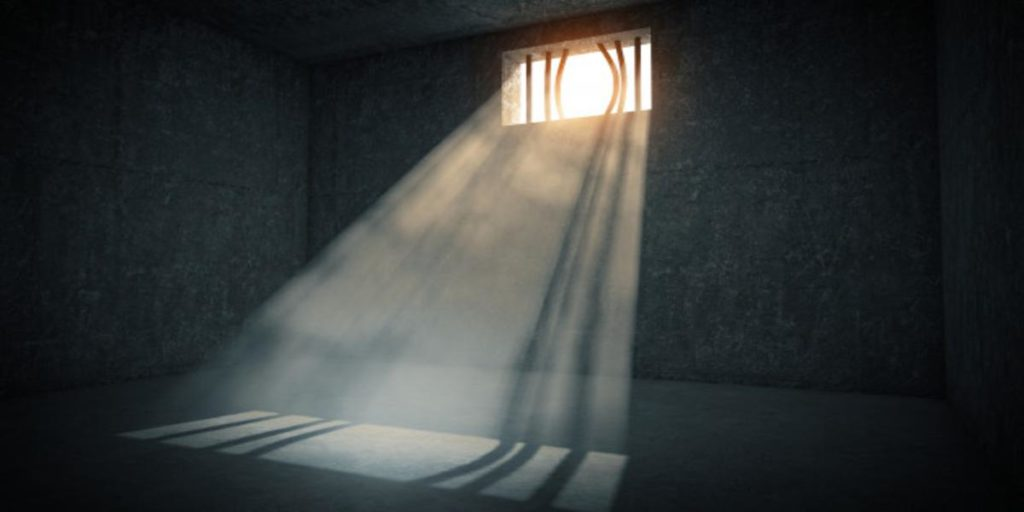 Light outside shining in a cell.