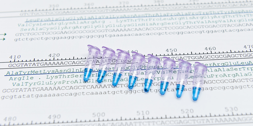 Imeage of tubes and sequencing data depicting gene expression analysis