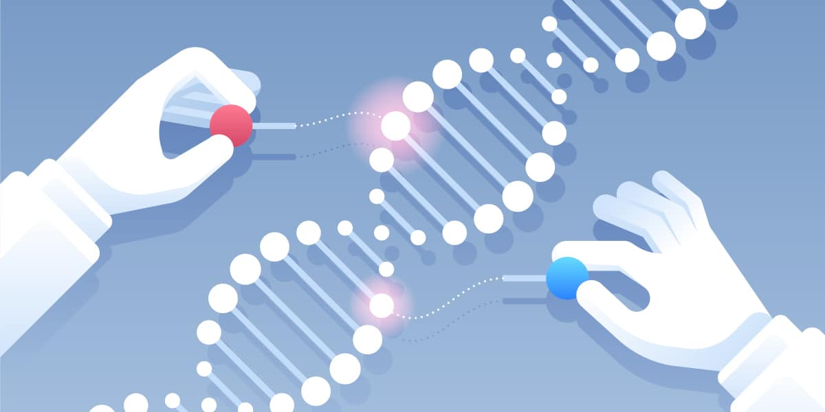 Image of two hands altering DNA to depict CRISPR genome editing