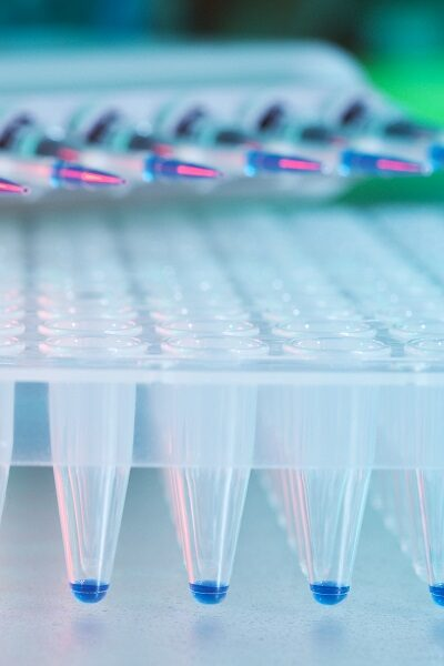 Multichannel pipette filling a microplate to depict new CRISPR screening technologies