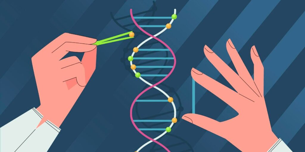 Cartoon of hands and DNA strand to represent calculating molecules in DNA