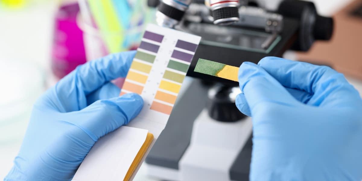Scientist holding up alkaline pH test strip to represent alkaline lysis in the lab