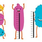 A cartoon depiction of five smiling cells standing next to height charts to represent assessing bacterial culture growth using OD600 measurements