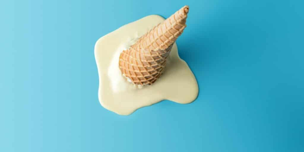 A picture of an ice cream cone that has been dropped and started to melt to represent freezing and thawing cells